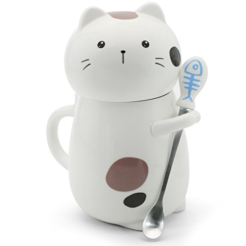 Asmwo Cute 3D Cat Mug Funny Ceramic Coffee Tea Mug with Stirring Spoon and Lid Novelty Birthday Christmas Thanks Giving Gift for Cat LoversWhite 14 oz-A