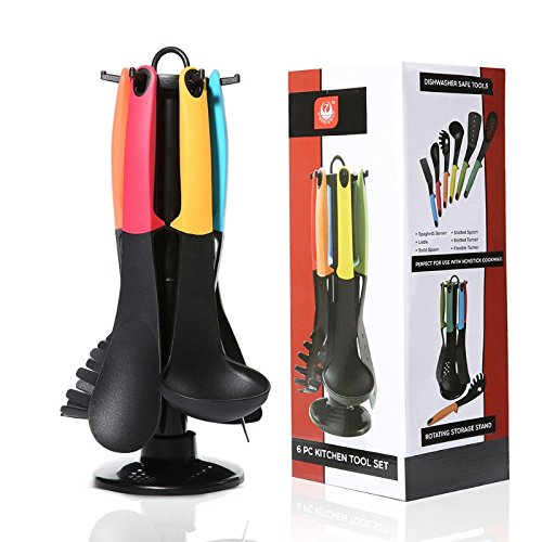 6 Pieces Nylon Silicone Kitchen Cooking Utensils Set with Holders and 360 Degree Rotating Carousel StandsSpatulaLadleSolid SpoonSlotted SpoonSlotted TurnerSpaghetti Server
