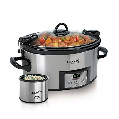 Crock-Pot Programmable Cook Carry with Little Dipper Warmer Stainless Steel
