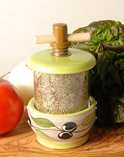 French Inspired Ceramic Sea Salt and Peppercorn Grinders - Olive Design