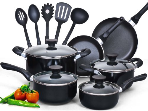 Cook N Home 15-Piece Nonstick Stay Cool Handle Cookware Set Black