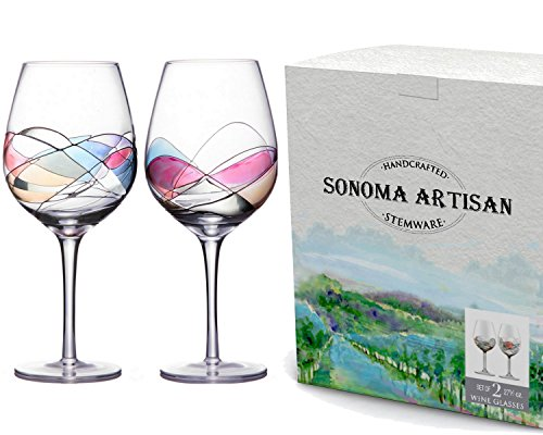 Handcrafted and Painted Wine Glasses by Sonoma Artisan Set of 2 Ideal for Entertaining a Unique Gift Idea Romantic Night in or Just Elevating Your Wine Enjoyment