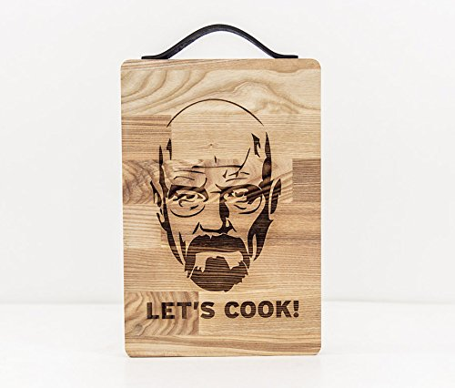 LETS COOK Cutting Board - Heisenberg Chopping Board - Wooden Cutting Board - Engraved Rustic Serving Platter - Braking Bad Chopping Block