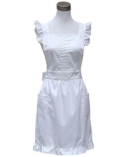 Hyzrz Retro Fancy Cute Cotton Frilly Kitchen White Apron Flirty Baking Cooking Aprons for Womens with Pockets Vintage White