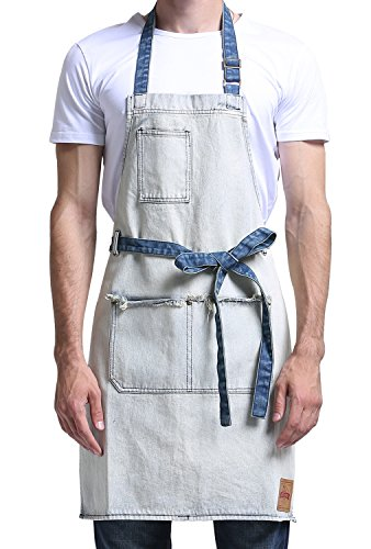 Vantoo Men Women Denim Artist Apron with 3 Pockets-Jean Painting Salon Apron-Adjustable Neck Strap-Extra Long Ties-Perfect Gifts for Friends Families White