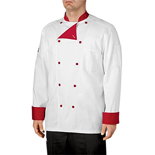 Chefwear LINED COTTON TRADITIONAL CHEF COAT 5000 White with Red 5XL