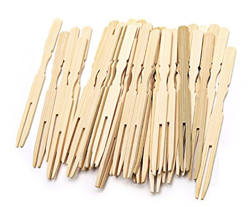 Oriental Creations 39 Inch Natural Bamboo Mini Forks for Home Party Catering Pack of 200