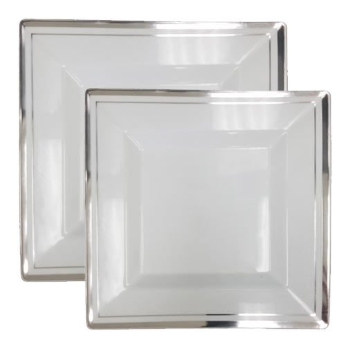 Posh Party Supplies Elegant Square White with Silver Rim Plastic Plate Combo for 20 Settings  20 1025 Dinner Plates 20 725 Salad Plates  40 Piece Set
