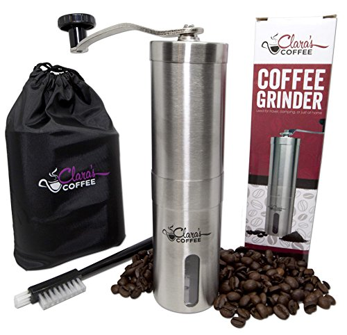Premium Manual Coffee Grinder - Stainless Steel Body & Adjustable Ceramic Conical Burr -our Hand Crank Mill Grinds