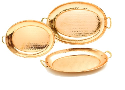 Old Dutch Hammered Copper Oval Trays with Cast Brass Handles Set of 3