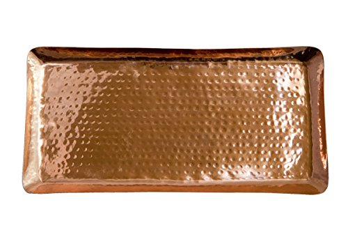 Pure Copper Serving Hammered Rectangular Tray Antique Charger Platter For Kitchenware Party Bar Household Outdoor Use - Best Copper Gifts - 17 x 85 By Alchemade