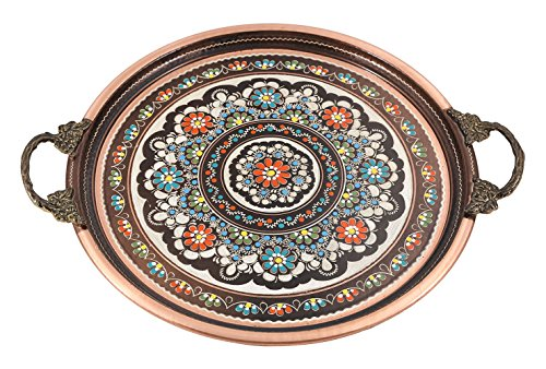 Traditional Design Handmade Hand Painted Hand Punched Copper Serving Tray with Brass Handle Large Brown