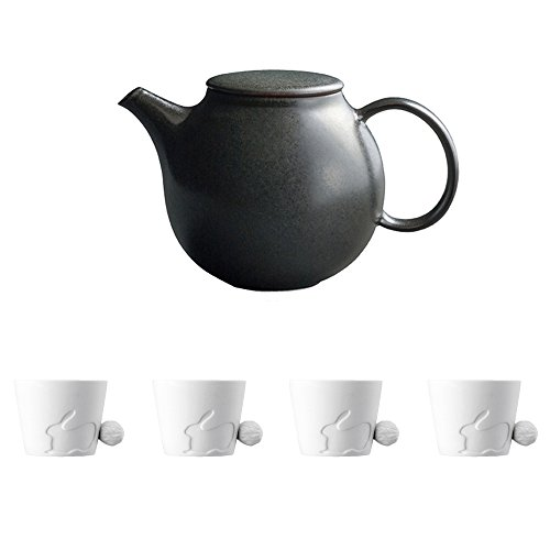 KINTO PEBBLE Black Porcelain Teapot and Four MUGTAIL Rabbit Porcelain Mug Set of 5