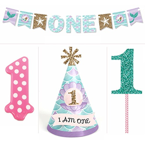 Lets Be Mermaids - 1st Birthday Girl Smash Cake Kit - High Chair Decorations