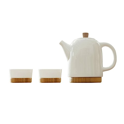 Ceramic Teapot Set White Bone China Teapot with Lid and 2 Cup Set