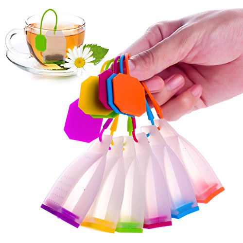 MEFAN™ Silicone Reusable Tea Bag Candy Silicone Tea Infuser Strainer Set - Genuine Premium Loose Leaf Infuser Set In Bright Colors 6 Set - Best Gift in Home Or Offices