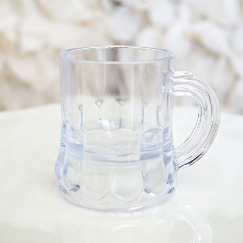 Mini Clear Plastic Beer Mug Shot Glasses- 175 Tall - 12 Count