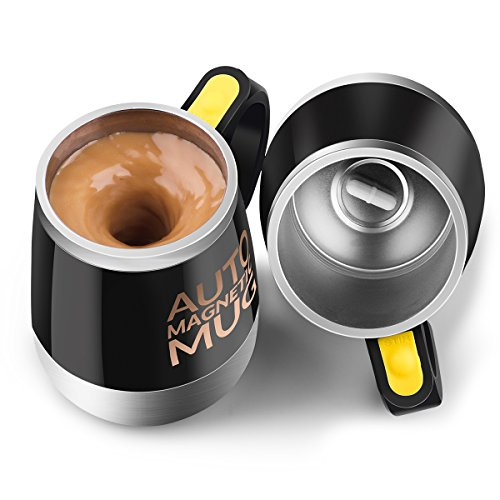 UpgradeSelf Stirring Coffee Mug - Upintek Magnetic Self Stirring Cup Electric Stainless Steel Automatic Self Mixing Cup and Mug for Traveling Morning Coffee Cup 450ml152ozBlack
