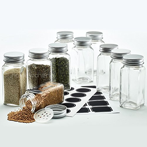 Hayley Cherie - 4 Oz Square Glass Spice Jars Set of 10 - Chalkboard Labels Stainless Steel Lids and Shaker Inserts