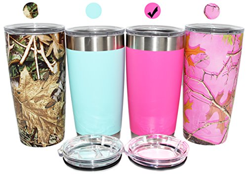 EPIC Stainless Steel Vacuum Insulated Travel Tumbler Thermal Coffee Cup and Mug includes 2 BPA Free Lids Sliding and Regular 20 oz - Pink