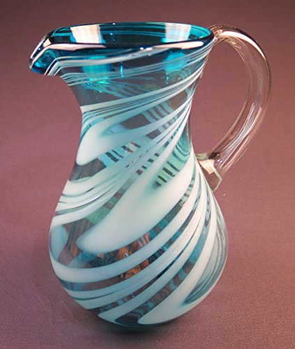 Hand Blown Mexican Glass Pitcher Turquoise White Iridescent Swirl Design 2 quarts