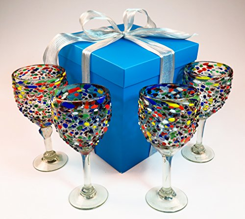 Hand blown wine glasses pebble confetti with gift box from Mexico 14 oz set of 4