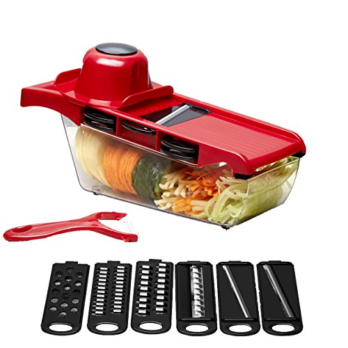 Mandoline Vegetable Slicer Cutter Julienne Grater with 6 Stainless Steel Interchangeable Blades Container plus a BONUS Peeler  Cusinetec USA