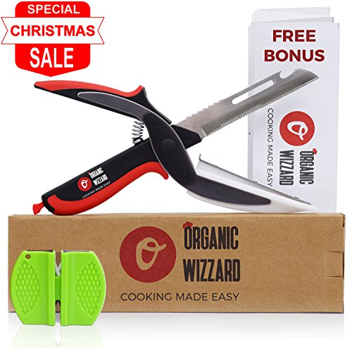 Organic Wizzard Kitchen Knife with Cutting Board and Finger Guard 6 in 1 Universal Scissors Food Chopper Slicer Cutter Dicer for Vegetables Fruits Meat and Cheese Upgraded Version Color1
