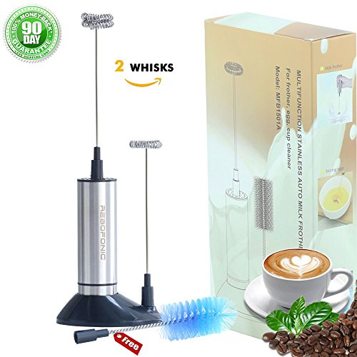 Milk Frother Wand Portable Foam Maker Electric Hand Held Beverage Mixer AAA Battery Powered Stainless Steel Blender With 2 Spring Whisks Cleaning Brush Stand Regular