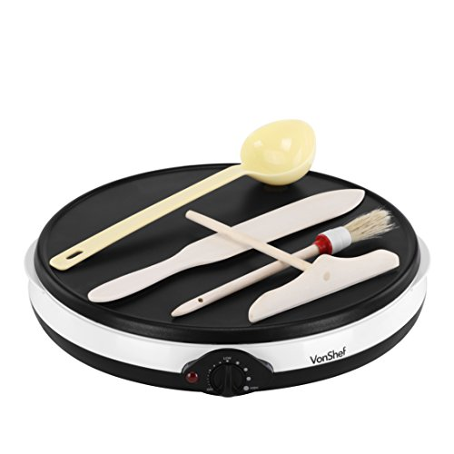 VonShef Professional Electric 12 Inch Crepe Pan and Pancake Maker Griddle with Batter Spreader Oil Brush Wooden Spatula Ladle - Non Stick
