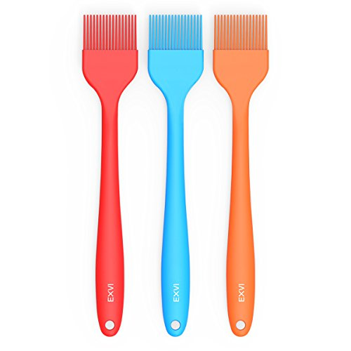 EXVI 10 inch Silicone Oil Brush Kitchen Pastry Baking Brush for Home BakingSauce MarinatingCake Basting and Grilling BBQ Set of 3