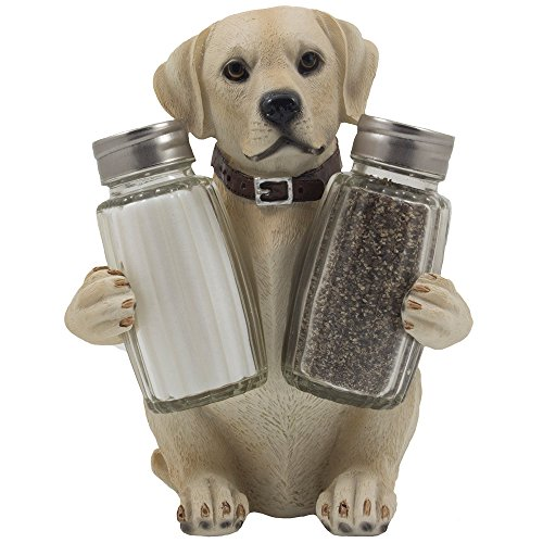 Labrador Retriever Salt and Pepper Shaker Set with Decorative Display Stand Dog Figurine Holder for Lodge Hunting Cabin Kitchen Decor Table Centerpieces As Puppy Gifts for Hunters