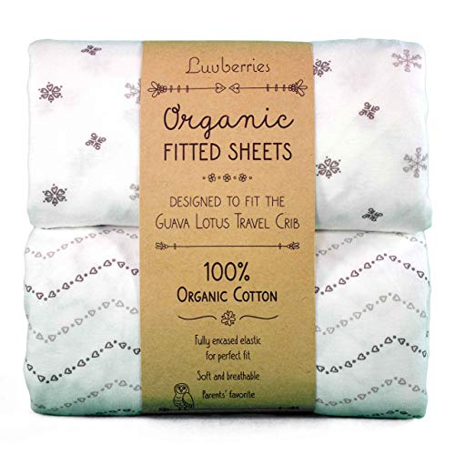 Guava Lotus Travel Crib Sheets Set of 2 - 100 Organic Cotton Crib Sheets Baby and Toddler Fitted Crib Sheets for Boys Girls for The New 4 TAB Mattress ONLY Grey and White