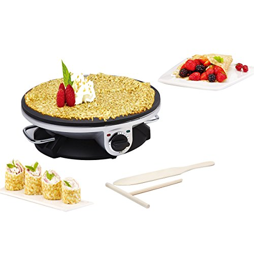Health and Home No Edge Crepe Maker - 13 Inch Crepe Maker Electric Griddle - Non-stick Pancake Maker- Waffle Maker- Crepe Pan