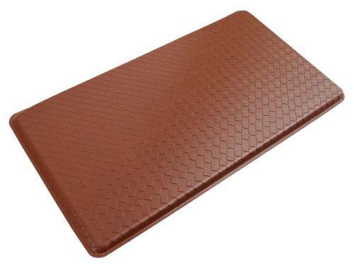 "GelPro Classic Anti-Fatigue Kitchen Comfort Chef Floor Mat 20x36"" Basketweave Chestnut Stain Resistant Surface with 12"" Gel Core for Health and Wellness"