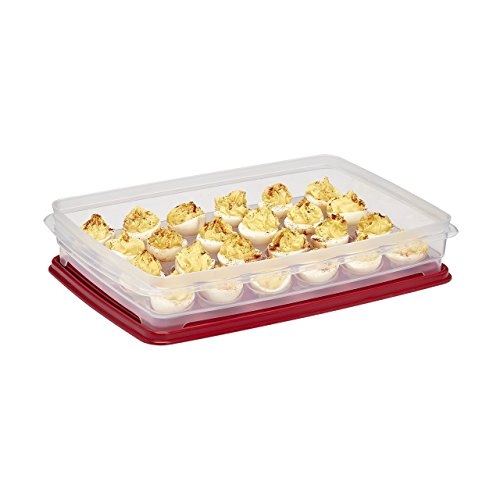 Egg Keeper and Storage Container Tray Carrier Holds 24 Eggs small to Jumbo Transport and Serve Deviled eggs at BBQ Picnic or Indoor Dinner Party Lid Securely Seals to Keep Eggs Fresh - By Buddeez