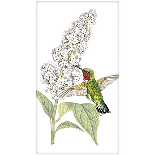 Mary Lake-Thompson Hummingbird at Flower Cotton Flour Sack Dish Towel