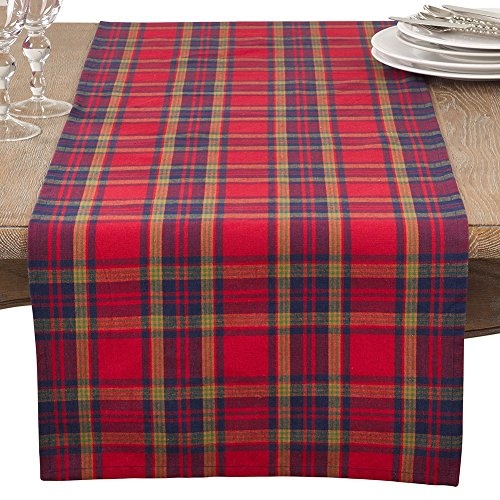 Fennco Styles Glendora Collection Classic Plaid Design Cotton Table Runner 16x72 Table Runner 4