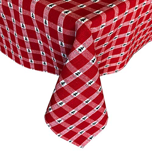 Lintex Little Christmas Trees Plaid Christmas Cotton Fabric Tablecloth - Country Cottage Red and Evergreen Tree Woven Cotton Plaid Easy Care Holiday Tablecloth 60 x 102 OblongRectangle