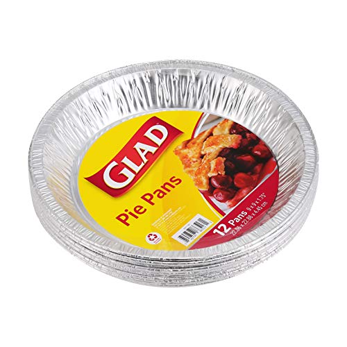 Glad Food Prep Storage BB11987  9 Inch Disposable Baking 12 Count  Aluminum Pie Pans