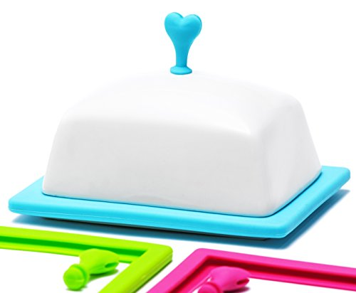 Butter Dishes with Covers - Ceramic Dinnerware Butter Keeper - Airtight for Fresher Taste - Dish Dispenser with 3 Colorful Silicone Frames Pink Green Blue - Fiestaware Plates for Western - Pack Shape