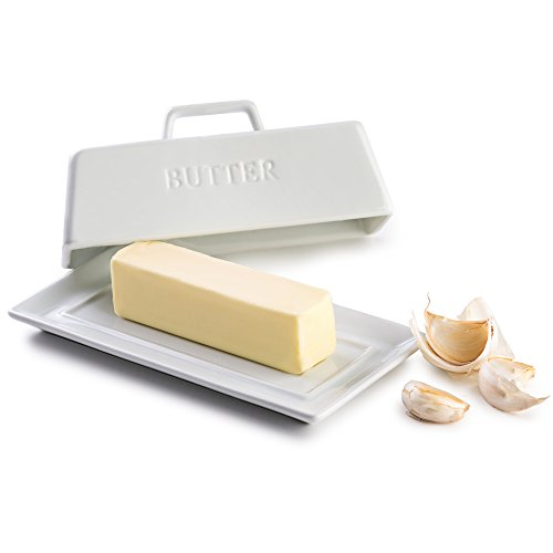KooK Ceramic Butter Dish with Handle Cover Design 725 Inch Wide White
