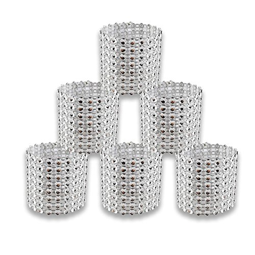 HUELE 25PCS Wedding Silver Napkin Rings for Chair Sashes Bows Holder crafts festive party supplies wedding event decoration