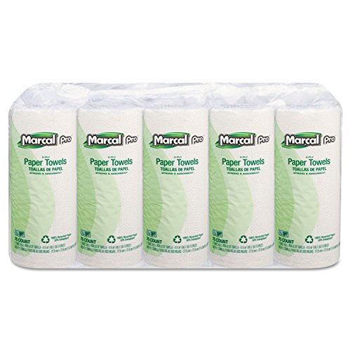 Marcal Pro 00610 100 Recycled Paper Towel 2-Ply White 70 sheets per roll 15 Individually Wrapped rolls per bundle