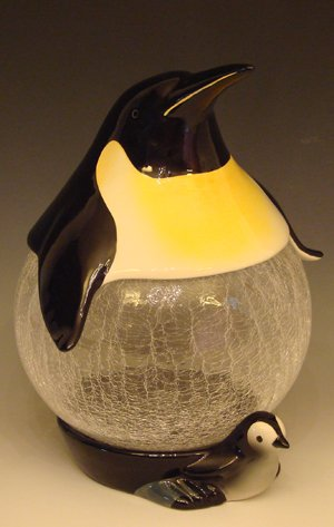 Ceramic PenguinGlass Belly Cookie Jar