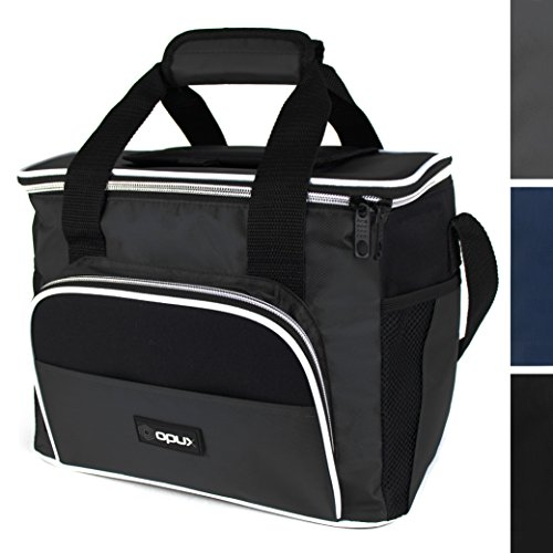 Premium Thermal Insulated Lunch Bag Mini Cooler With Shoulder Strap by OPUX  Durable Functional Easy To Use  Perfect For Road Trips and Picnics Gray