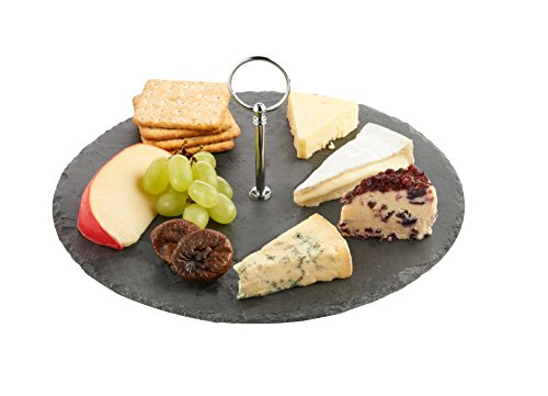 Vonshef Round Slate Cheese/tapas Board With Carrying Handle