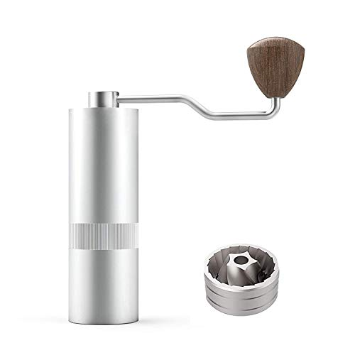 Manual Burr Coffee Grinder JM38 Series Stainless Steel Pentagon Conical Burr with Adjustable Setting for Pour-Over Consistency Grinding Sliver