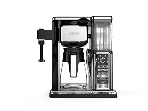 Ninja Coffee Bar Auto-iQ Programmable Coffee Maker with 6 Brew Sizes 5 Brew Options Milk Frother Removable Water Reservoir and Glass Carafe CF091 Renewed