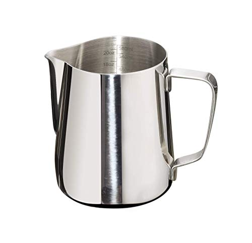 Joytata Milk Frothing Pitcher 20oz Stainless Steel Cup with Double Measurement Scales Perfect for Latte ArtEspresso MakerCappuccino Maker-188 Stainless Steel Milk Frother Pitcher Steaming Pitcher